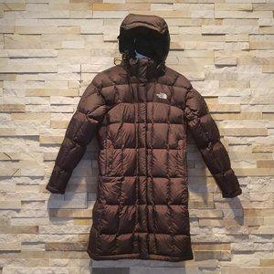 North Face Womens XS Long Parka Brown Down Jacket